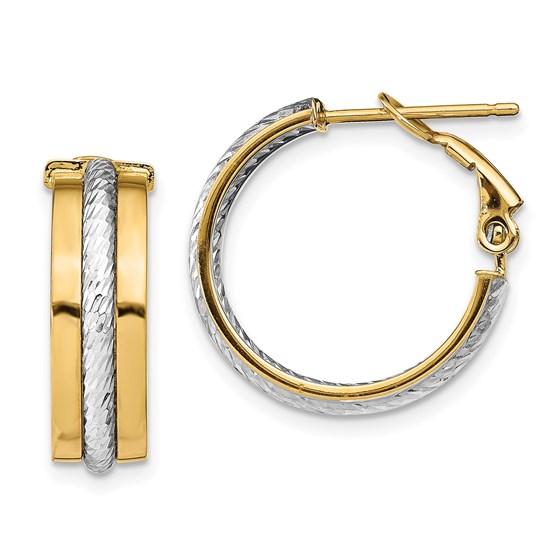 14K Rhodium Textured Hoop Earrings - 19.5 mm