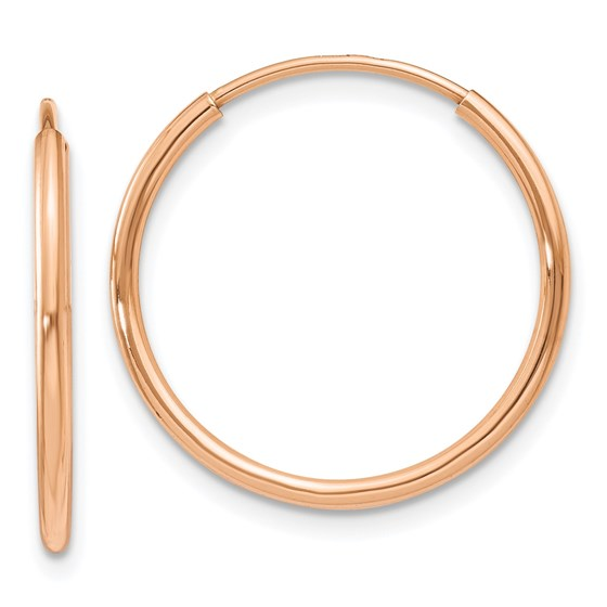 14k Rose Gold 1.2mm Polished Endless Hoop Earrings - 18.5 mm