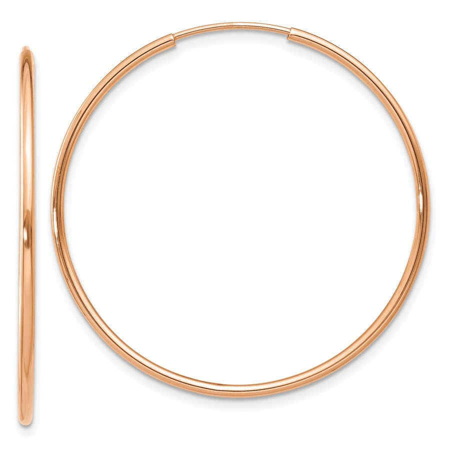 14k Rose Gold 1.2mm Polished Endless Hoop Earrings - 34.15 mm