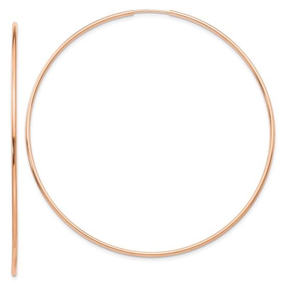 14k Rose Gold 1.2mm Polished Endless Hoop Earrings - 61.75 mm