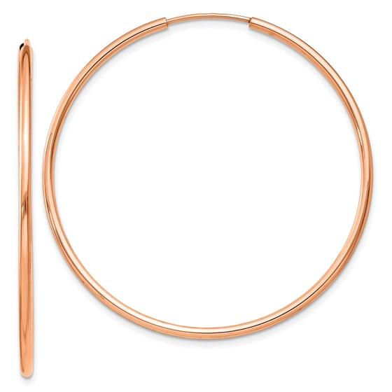 14k Rose Gold 1.5mm Polished Endless Hoop Earrings - 40 mm