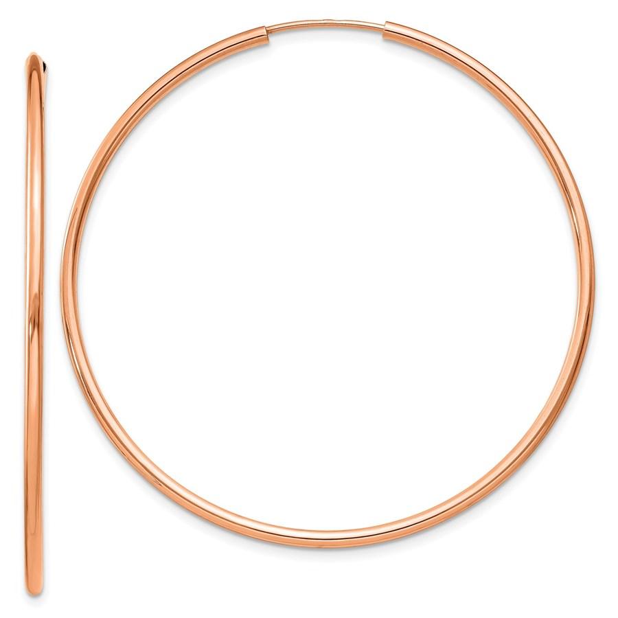 14k Rose Gold 1.5mm Polished Endless Hoop Earrings - 45 mm