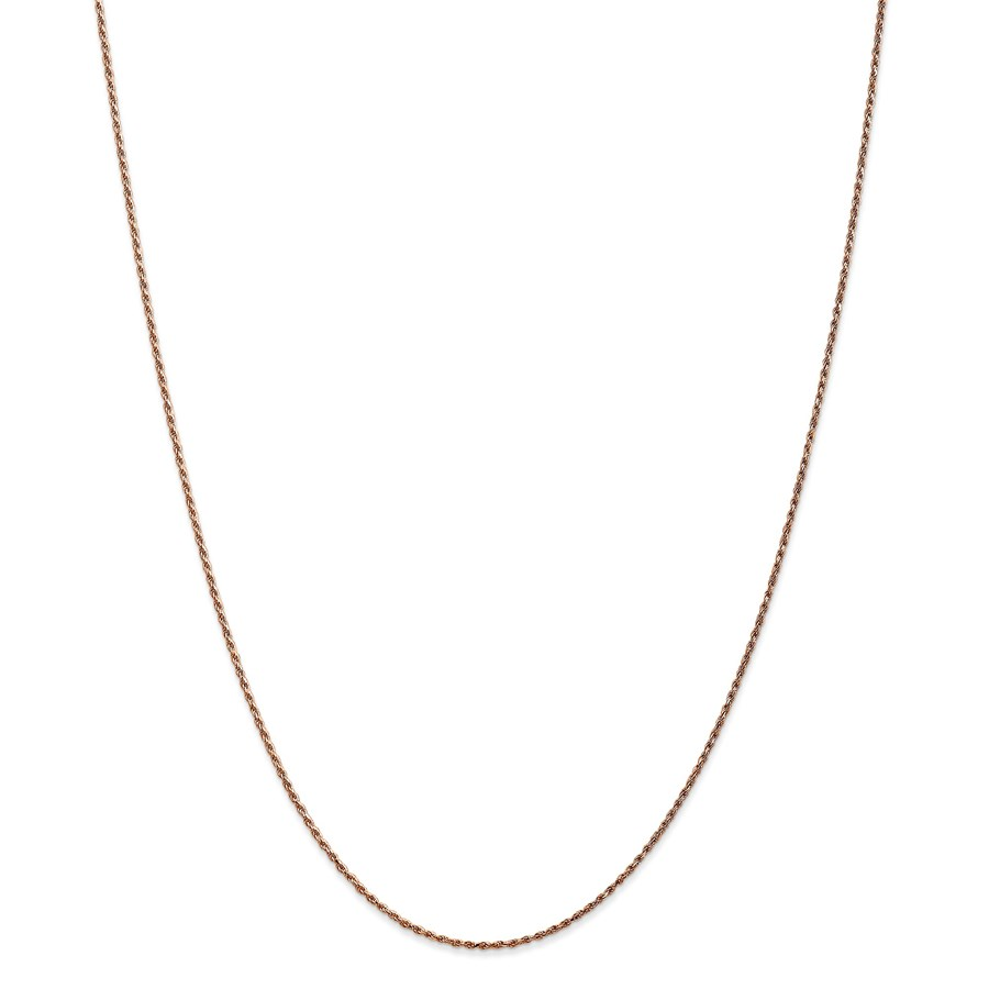14k Rose Gold 1 mm Diamond-cut Rope Necklace - 18 in.