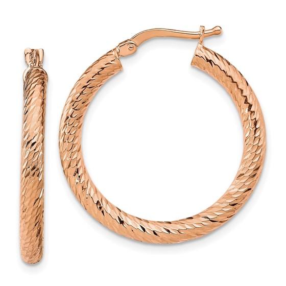 14K Rose Gold 3mm Polished D/C Twisted Hoop Earrings - 28.25 mm