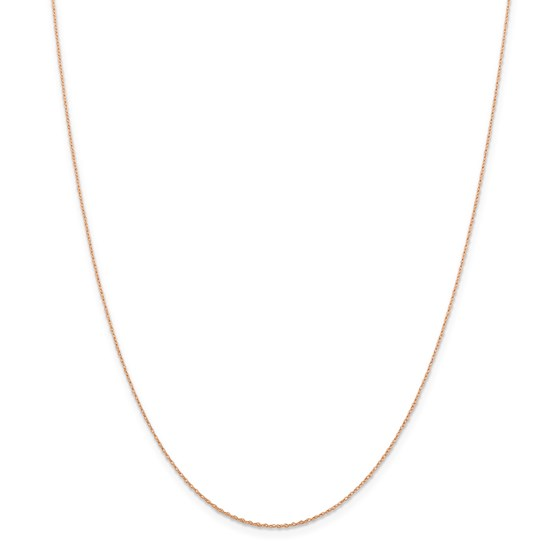 14k Rose Gold .5 mm Cable Rope Chain Necklace - 16 in.