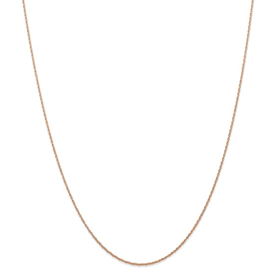 14k Rose Gold .7 mm Carded Cable Rope Chain Necklace - 18 in.