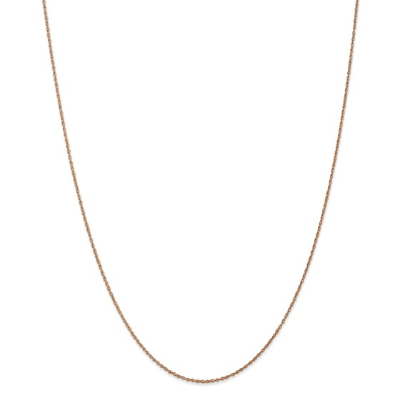 14k Rose Gold .8 mm Light-Baby Rope Chain Necklace - 18 in.