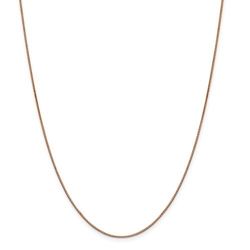 14k Rose Gold .84 mm Box Link Chain Necklace - 20 in.