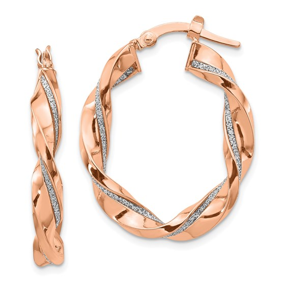 14K Rose Gold Glimmer Infused Twisted Hoop Earrings - 30 mm