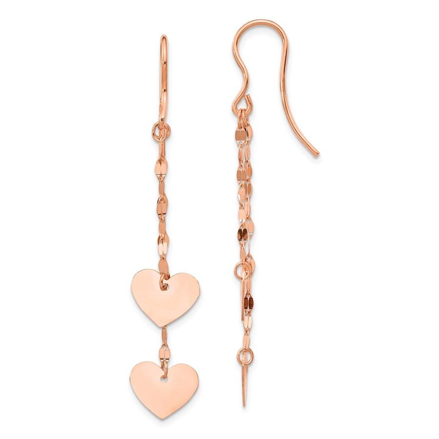 14k Rose Gold Heart Dangle Earrings