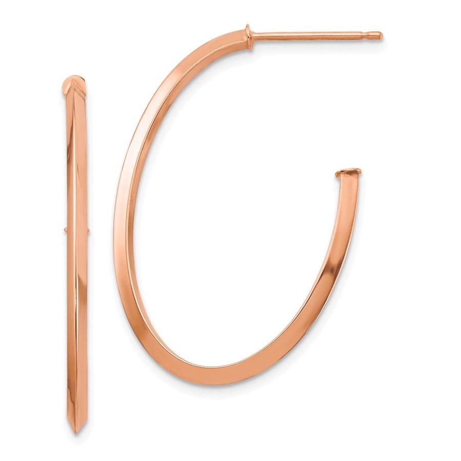 14k Rose Gold Polished Fancy Post Dangle Earrings