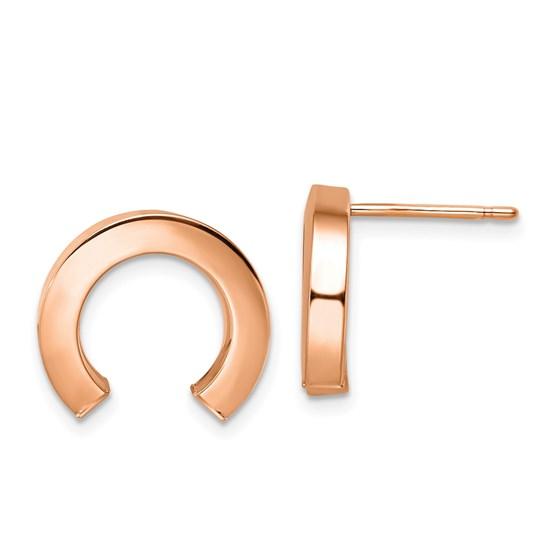14K Rose Gold Polished Half Circle Post Earrings - 14.5 mm