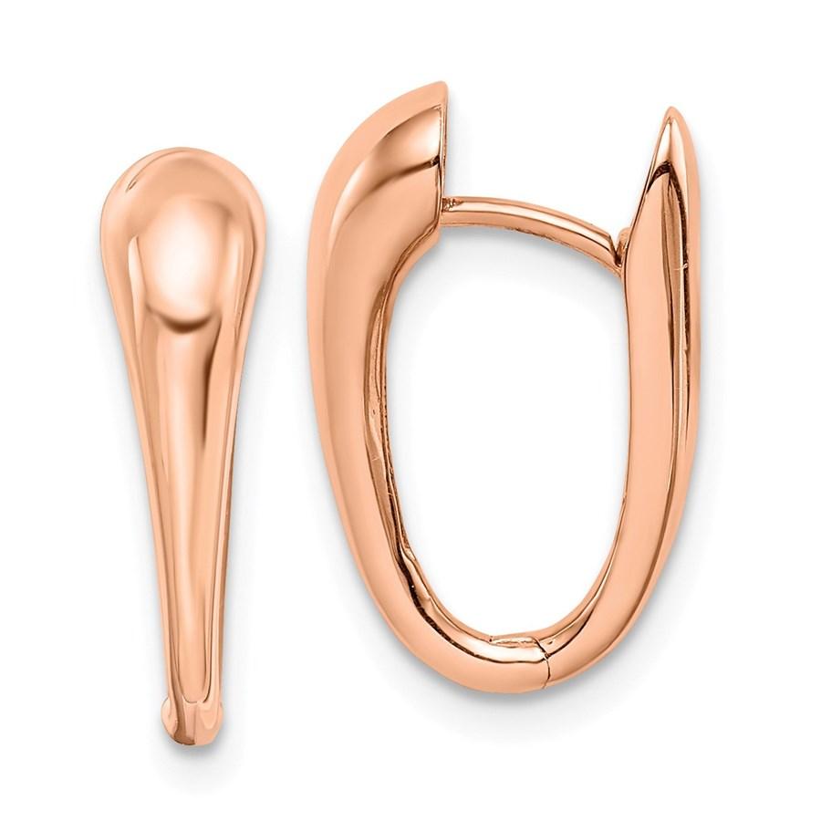 14k Rose Gold Polished Hinged Hoop Earrings