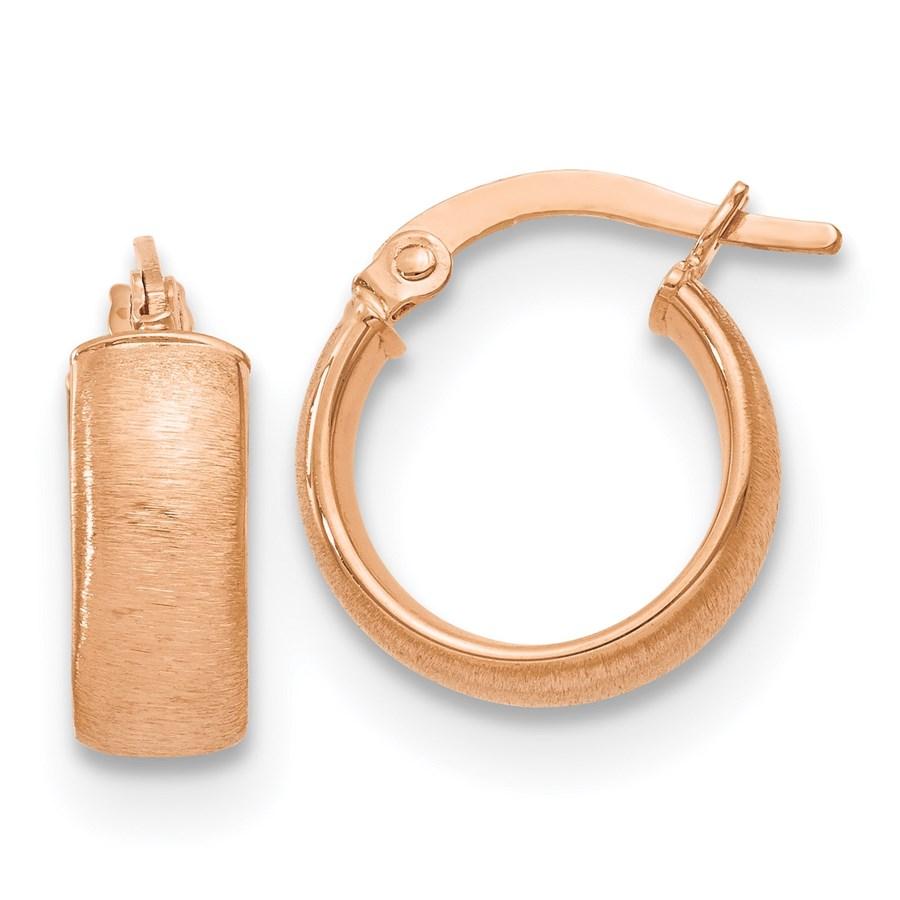 14K Rose Gold Polished & Satin Finish Hoop Earrings - 15 mm
