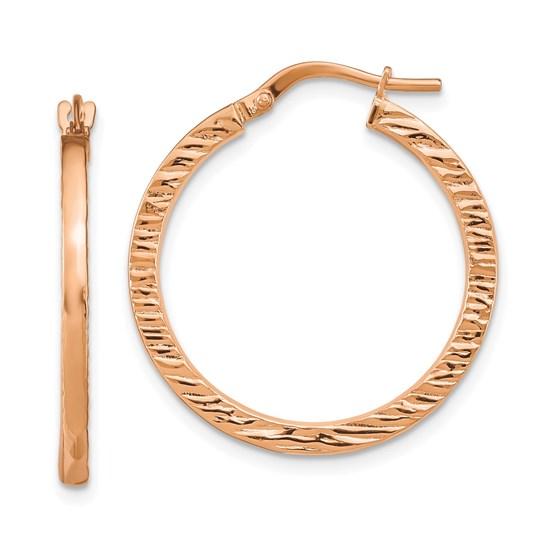 14K Rose Gold Polished Textured Hoop Earrings - 26.27 mm