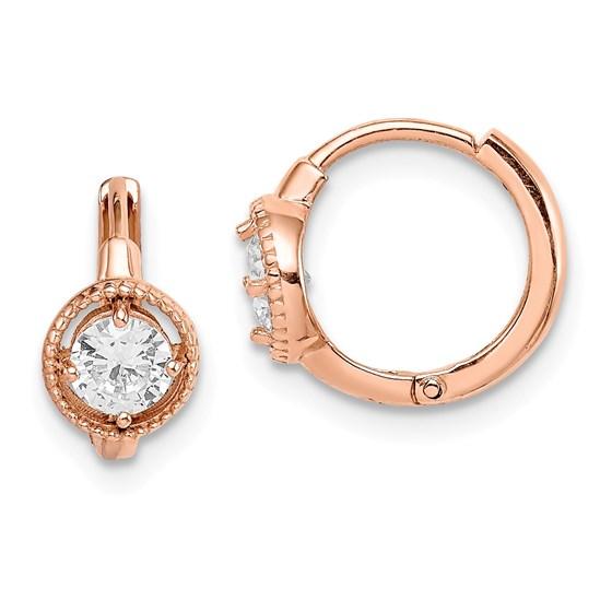 14k Rose Gold Round Cubic Zirconia Hoop Earrings
