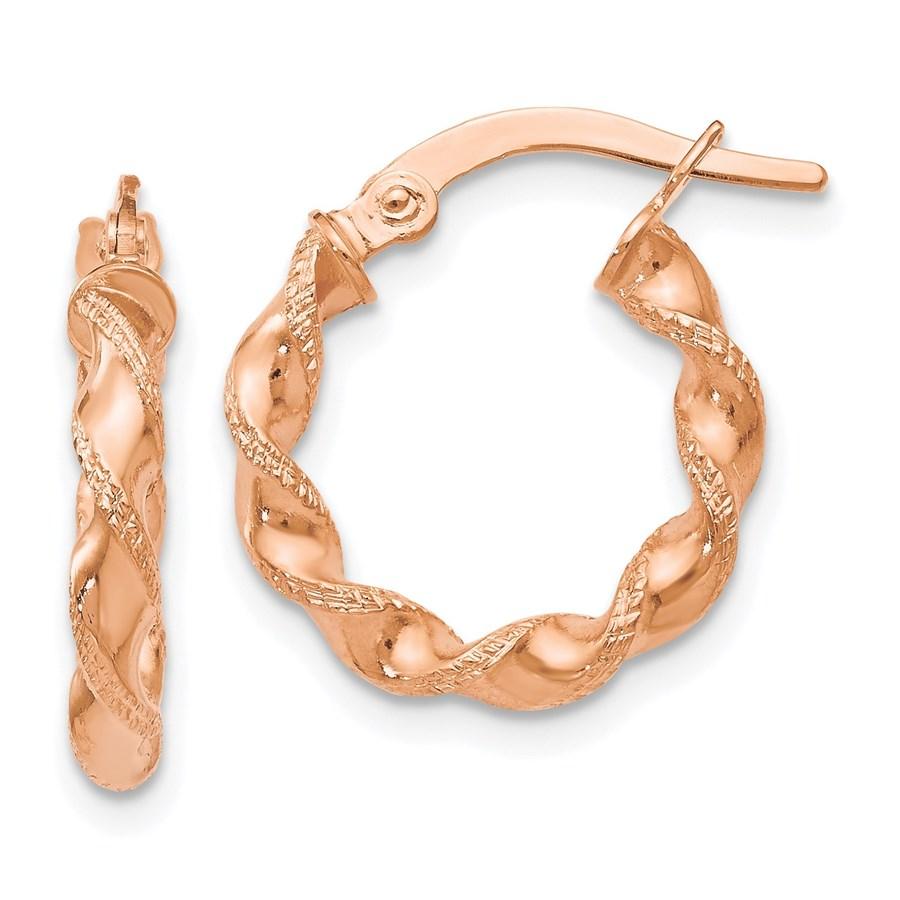 14K Rose Gold Twisted Hoop Earrings - 16 mm