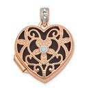 14k Rose Gold Vintage Heart w/Diamond blk interior Locket - 18 mm