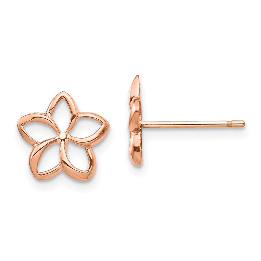 14k Rose Polished Plumeria Cutout Post Earrings