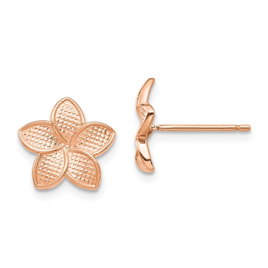14k Rose Polished & Textured Plumeria Post Earrings