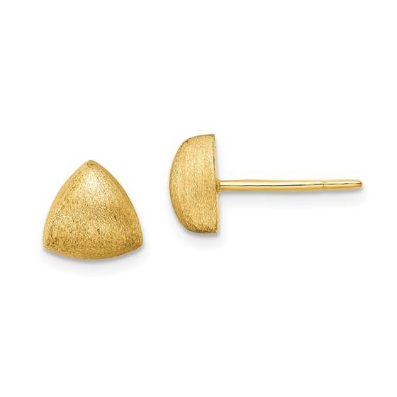 14K Scratch Finish Triangle Button Post Earrings - 8.25 mm