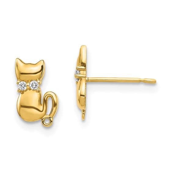 14K Sitting Cat CZ Bowtie Stud Earrings - 7.8 mm
