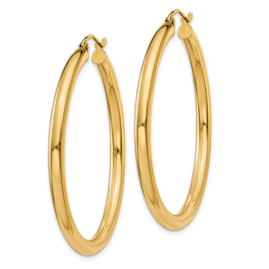 14k Solid Gold 3 mm Polished Round Hoop Earrings