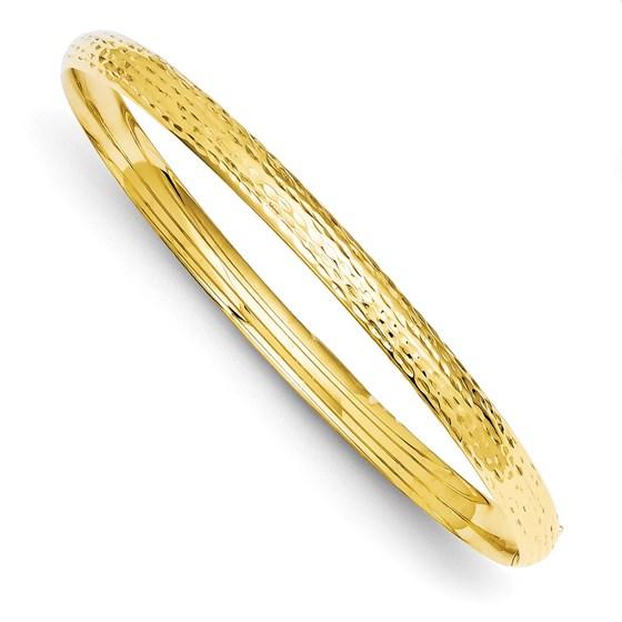 14k Solid Gold 6 mm Diamond Cut Fancy Hinged Bangle Bracelet