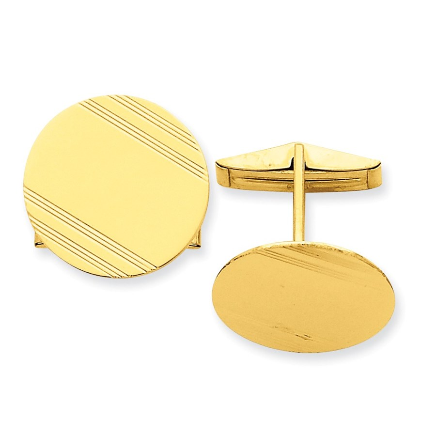14k Solid Gold Circular Cuff Links