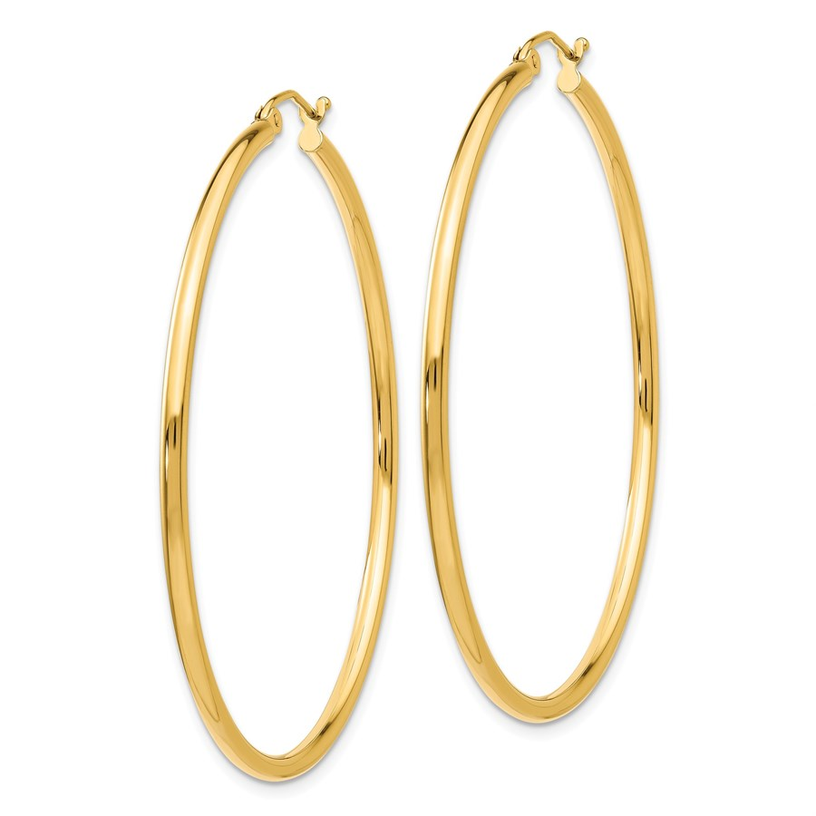 14k Solid Gold Lightweight Tube Hoop Earrings