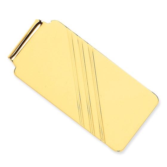 14k Solid Gold Money Clip (Diagonal stripe)