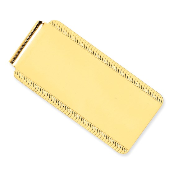 14k Solid Gold Money Clip (Fancy border)