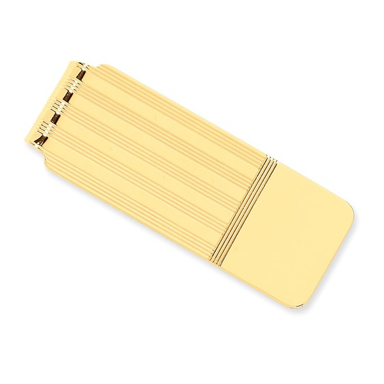14k Solid Gold Money Clip (Narrow stripes)