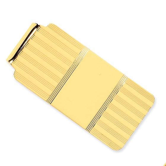 14k Solid Gold Money Clip (Striped pattern)