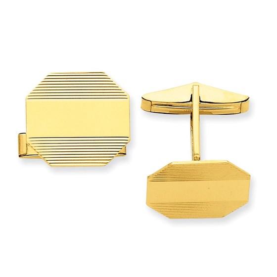 14k Solid Gold Octagonal Cuff Links