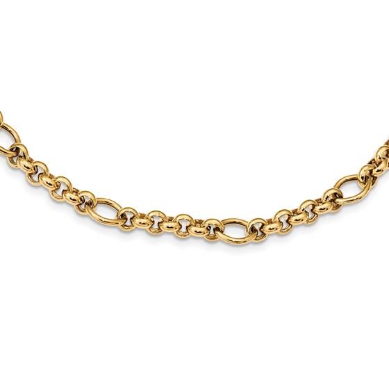 14k Solid Gold Polished Fancy Link Bracelet (Small links)