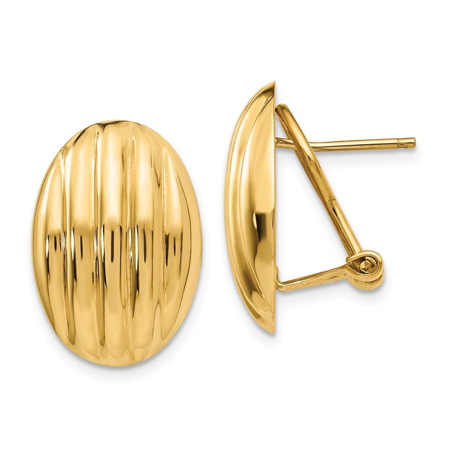 14k Solid Gold Polished Fancy Omega Back Post Earrings (19 mm)