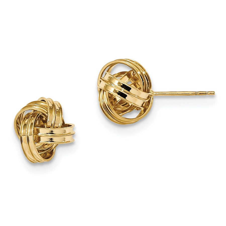14k Solid Gold Polished Love Knot Post Earrings (11 mm)