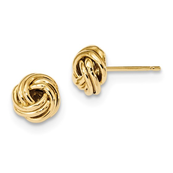 14k Solid Gold Polished Love Knot Post Earrings (9 mm)