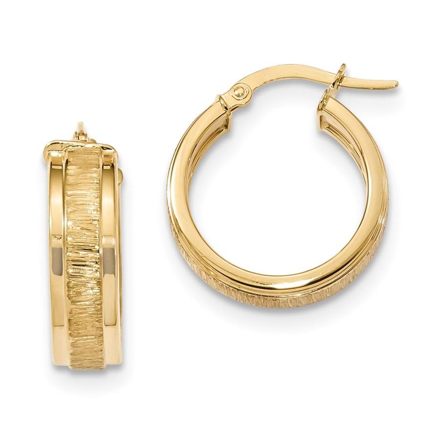 14k Solid Gold Polished & Satin Hoop Earrings (22.43 mm)
