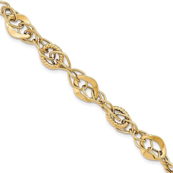 14k Solid Gold Polished Textured Fancy Link Bracelet