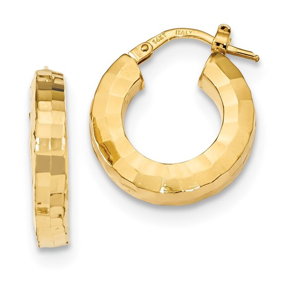 14k Solid Gold Polished & Textured Hoop Earrings