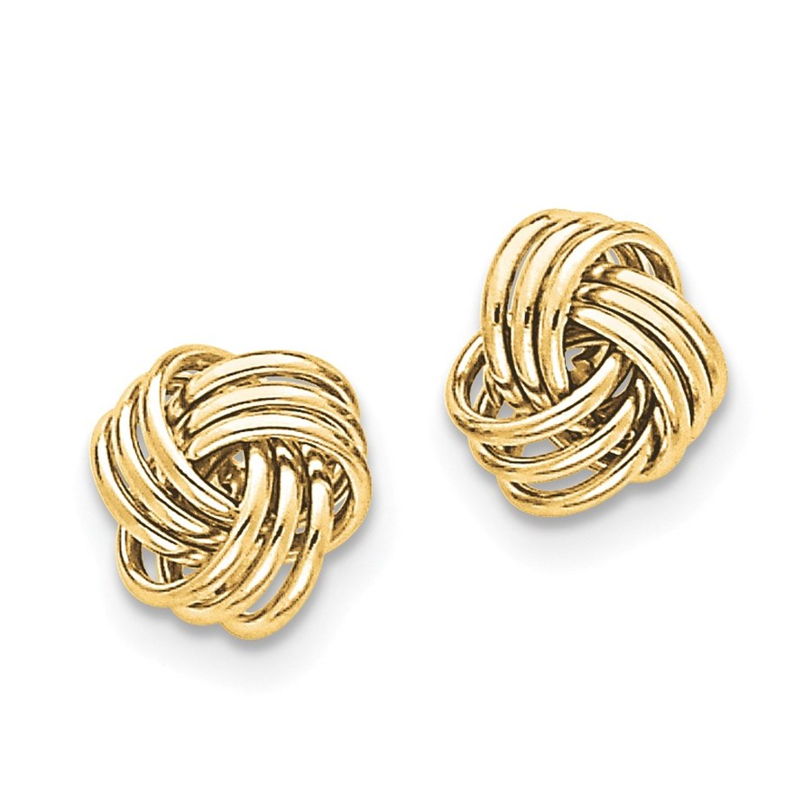 14k Solid Gold Polished Triple Knot Post Earrings