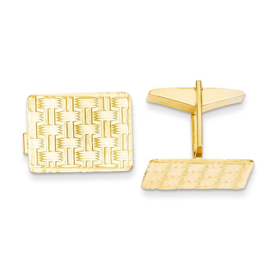14k Solid Gold Rectangular Cuff Links