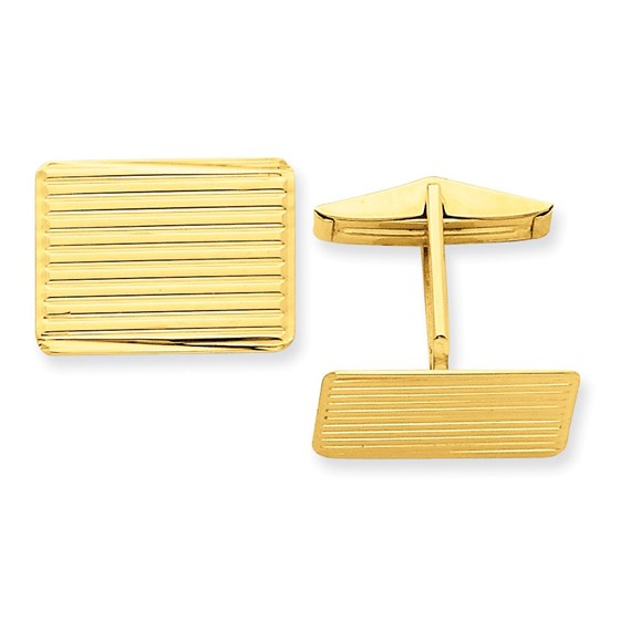 14k Solid Gold Textured Cuff Links