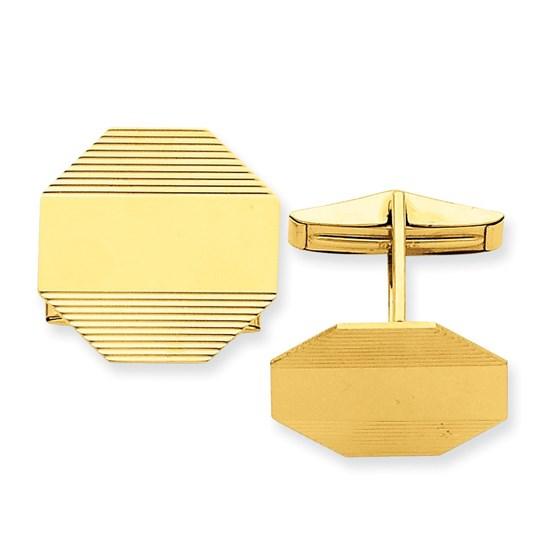 14k Solid Gold Textured Octagonal Cuff Links