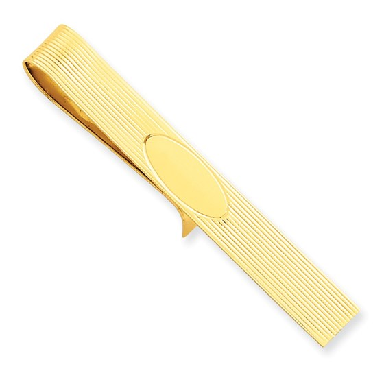 14k Solid Gold Tie Bar (Pinstriped w/oval center)