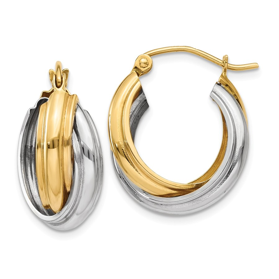 14k Solid Gold Two-Tone Polished Double Hoop Earrings