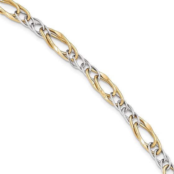 14k Solid Gold Two-tone Polished Fancy Link Bracelet