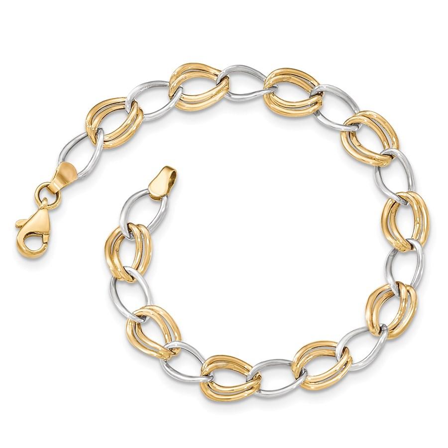 14k Solid Gold Two-tone Polished Open Link Bracelet